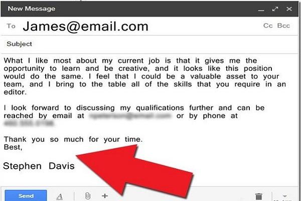 Đoạn kết thúc thư xin việc.