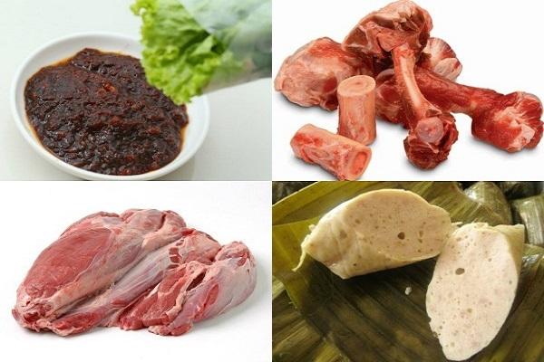 nguyên liệu để nấu bún bò huế