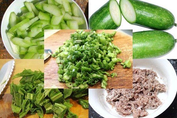 guyên liệu để nấu món canh bí đao thịt bằm