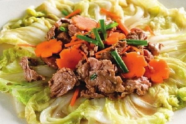 cách làm cải thảo xào thịt bò