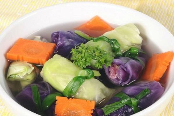 Canh bắp cải cuộn chay