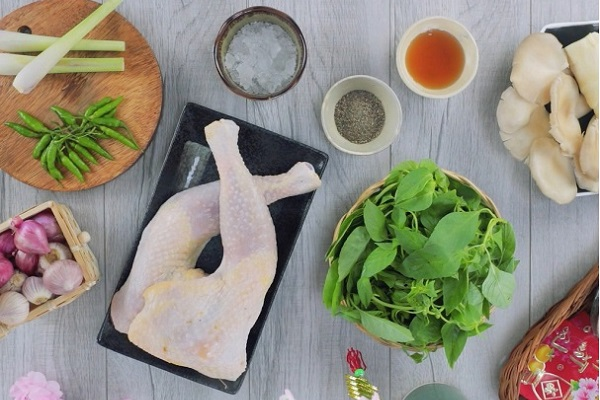 nguyên liệu nấu lẩu gà lá é ngon