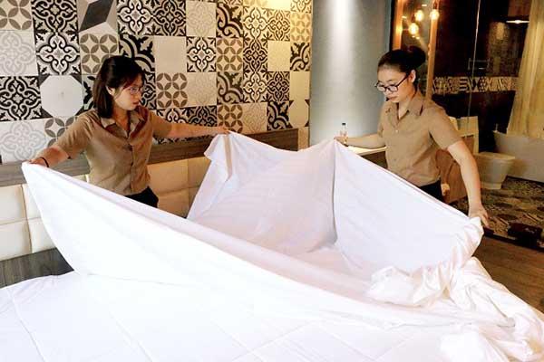 trải ga giường phải được thực hiện đúng chuẩn