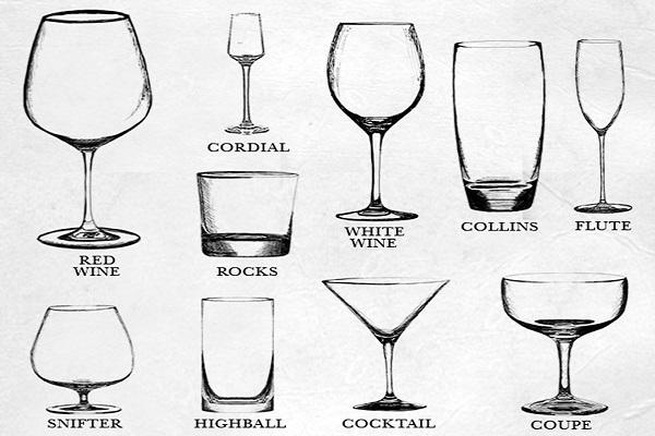hình ảnh các loại ly dùng để uống rượu