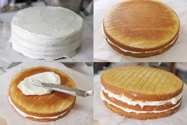 hình ảnh phủ kem kín toàn bộ bánh kem