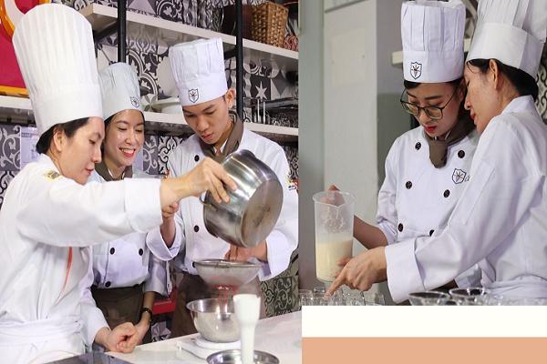 hình ảnh thực hành các kỹ thuật làm bánh tại CET