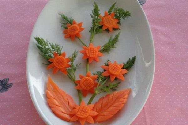 cắt tỉa cà rốt trang trí món á
